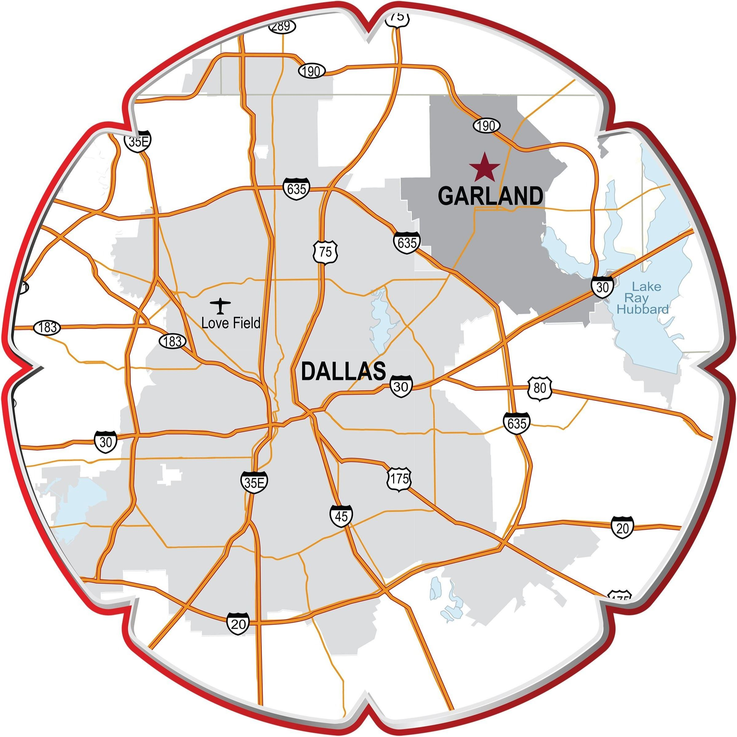 Map of Garland with Highways (JPG) Opens in new window