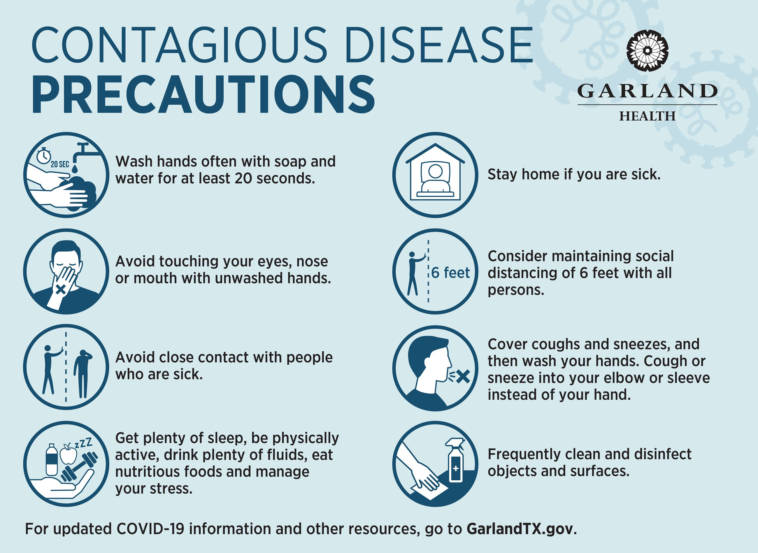 Tips for preventing spread of contagious diseases, such as handwashing, stay home when sick, cover c